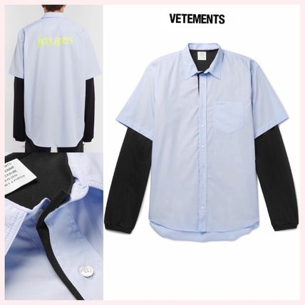 VETEMENTS Shirts Long Sleeves Plain Cotton Shirts