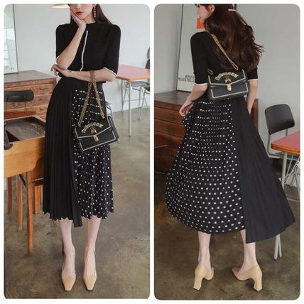 Dots Casual Style A-line Cropped Long Dresses