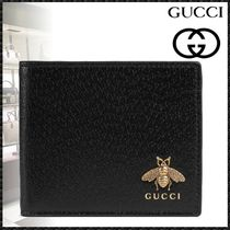 GUCCI Plain Other Animal Patterns Leather Folding Wallets