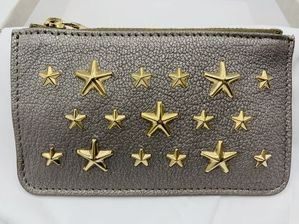 Jimmy Choo Star Unisex Studded Leather Logo Coin Cases