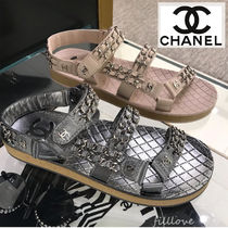 CHANEL Open Toe Casual Style Chain Plain Leather Handmade