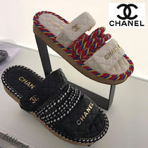 d6c5cd95765f CHANEL Casual Style Blended Fabrics Plain With Jewels Sandals