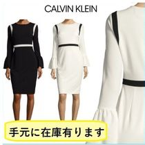 Calvin Klein Tight Plain Medium Elegant Style Puff Sleeves Dresses