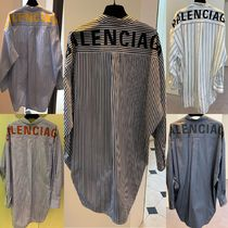 BALENCIAGA Stripes Casual Style Street Style Long Sleeves Cotton Long