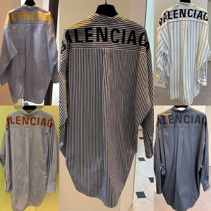 Stripes Casual Style Street Style Long Sleeves Cotton Long