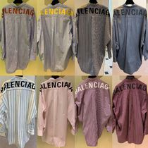 BALENCIAGA Gingham Stripes Casual Style Street Style Long Sleeves