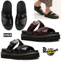 Dr Martens Open Toe Platform Casual Style Unisex Plain Leather