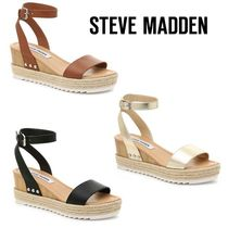 Steve Madden Casual Style Plain Leather Platform & Wedge Sandals