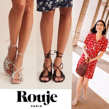 Square Toe Plain Leather Elegant Style Heeled Sandals