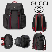 GUCCI Stripes Canvas A4 Backpacks