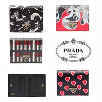 PRADA Flower Patterns Leather Folding Wallets