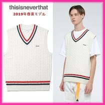 thisisneverthat Cable Knit Unisex Street Style Plain Vests & Gillets
