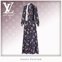 Louis Vuitton Flower Patterns Silk Blended Fabrics Long Sleeves Long