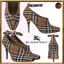 Burberry Tartan Open Toe Casual Style Pin Heels Ankle & Booties Boots