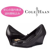 Cole Haan Plain Leather Office Style Wedge Pumps & Mules