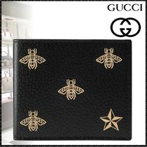 GUCCI Star Unisex Street Style Leather Folding Wallets