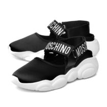 Moschino Rubber Sole Leather Low-Top Sneakers