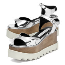 Stella McCartney ELYSE Star Rubber Sole Faux Fur Heeled Sandals