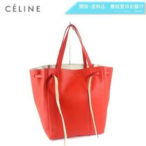 CELINE Cabas Phantom A4 Plain Leather Elegant Style Totes