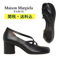 Maison Martin Margiela Plain Leather Block Heels Elegant Style
