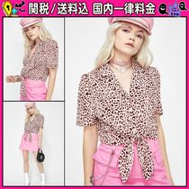 DOLLS KILL Leopard Patterns Casual Style Short Sleeves Shirts & Blouses
