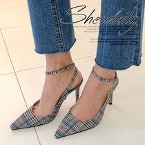Other Check Patterns Casual Style Faux Fur Plain Pin Heels
