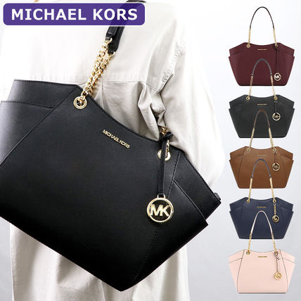 Michael Kors JET SET TRAVEL Chain Plain Leather Totes