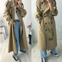 Plain Long Midi Oversized Elegant Style Trench Coats