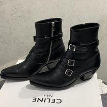 CELINE Plain Toe Plain Leather Boots