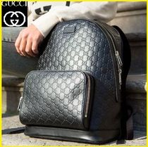 GUCCI Unisex Street Style Leather Backpacks