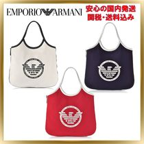 EMPORIO ARMANI Casual Style Canvas Street Style Plain Totes