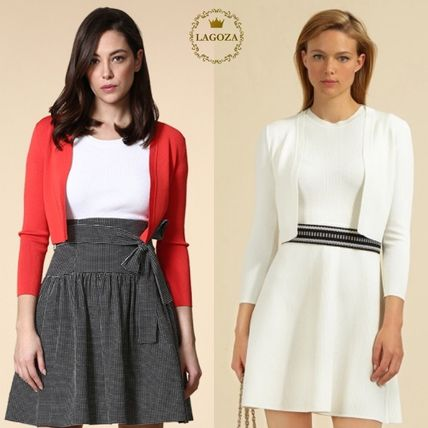 Long Sleeves Plain Cotton Office Style Cardigans