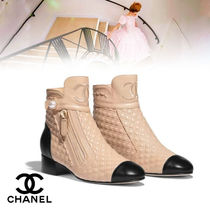 CHANEL Blended Fabrics Bi-color Leather Block Heels With Jewels