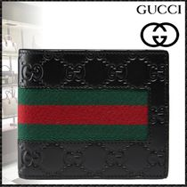 GUCCI Gucci Signature Leather Stripes Blended Fabrics Leather Folding Wallets