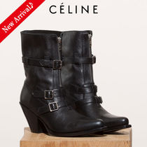 CELINE Cowboy Boots Round Toe Casual Style Blended Fabrics