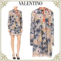 VALENTINO Short Flower Patterns Silk Long Sleeves Home Party Ideas