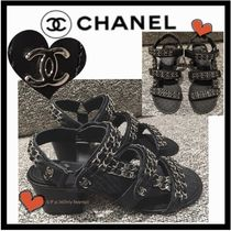 CHANEL Casual Style Chain Plain Leather Block Heels Footbed Sandals