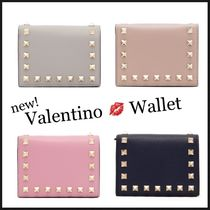 VALENTINO Unisex Studded Plain Folding Wallets