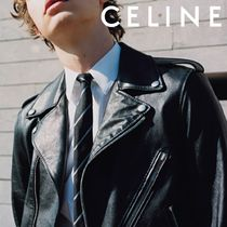 CELINE Short Street Style Plain Leather Biker Jackets