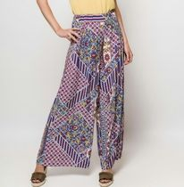 Flower Patterns Casual Style Long Oversized Wide Leg Pants