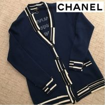 CHANEL Stripes Casual Style Unisex Cashmere Street Style