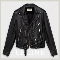 CELINE Unisex Leather Biker Jackets