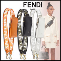 FENDI STRAP YOU Monogram Plain Leather Elegant Style Shoulder Bags