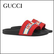 GUCCI Stripes Street Style Leather Shower Shoes Shower Sandals