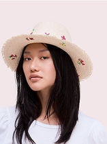 kate spade new york Street Style Fringes With Jewels Straw Hats