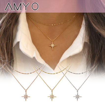 Star Chain Silver Elegant Style Necklaces & Pendants