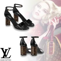 Louis Vuitton Open Toe Plain Leather Elegant Style Heeled Sandals