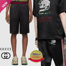 GUCCI Skull Stripes Nylon Joggers Shorts