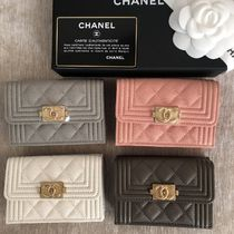 CHANEL BOY CHANEL Calfskin Folding Wallets