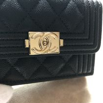 CHANEL BOY CHANEL Calfskin Small Wallet Folding Wallets